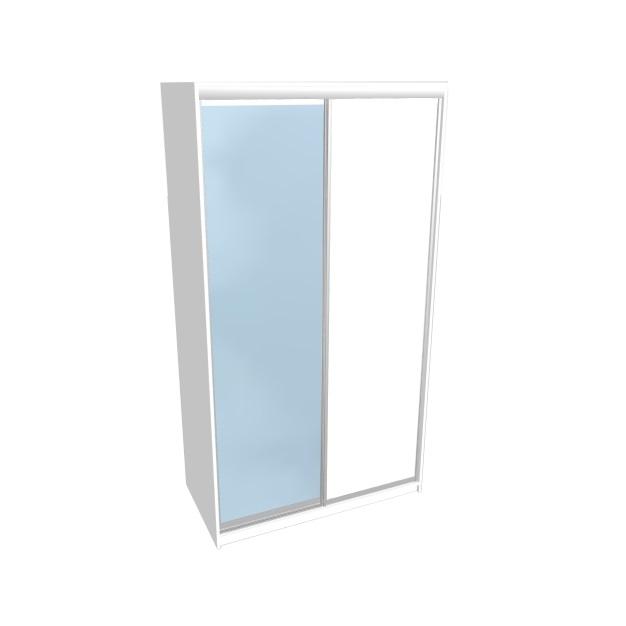 Liukuovikaappi Hiipakka Ida, 180x60x220cm, valkoinen, ovet peili + valkoinen lasi
